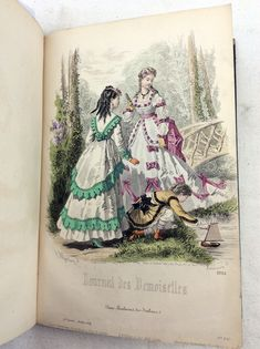For sale 1869 Journal des demoiselles- French Victorian era fashion magazine. Complete year with 7 hand coloured engravings and 2 black and white. Victorian Era Fashion, Ashley S, Fashion Plates, Hand Coloring, Colorful Fashion, Greeting Cards, Journal, Magazine, Black And White