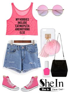 """http://www.shein.com/Blue-Ripped-Raw-Hem-Denim-Shorts-p-293227-cat-1912.html?utm_source=polyvore&utm_medium=contest&url_from=zehricakukic"" by erna-pozderovic ❤ liked on Polyvore featuring Converse, tenoverten and Ashlyn'd"