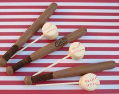 Baseball - chocolate dipped pretzel bats  marshmallow balls - instructions on how to make.