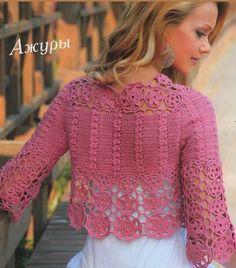 Chorrilho de ideias: Bonito bolero rosa com rosetas em crochet com esqu...