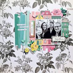 @scrapwithrachel is on the blog today sharing this awesome layout for our Sketch Challenge. Love the black and white with the pops of color!
