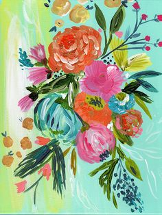 Add a pop of whimsy and color to your decor with a boho bouquet limited edition print. Personally signed by Bari J. Printed on luxe heavy weight archival paper made to last. For the safest shipping, y Original Paintings, Original Art, Arte Floral, Painting Inspiration, Diy Art, Flower Art, Painting & Drawing, Watercolor Art, Illustration