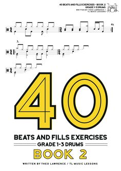 This book contains drum beats and drum fills in the styles of pop, rock, blues, musical theatre, jazz, heavy metal, hard rock, punk rock, and indie, as well as covering fundamental techniques such as stepped hi hat, open hi hats, 16th note hi hats, 4 way coordination and time signature changes. The book ranges from grade 1 to 3. Drum Sheet Music, Drums Sheet, Drum Lessons, Music Lessons, Learn Drums, Drums Beats, Skip Beat, Exercise Book, Hard Rock