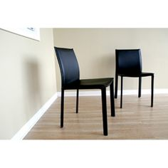 @Overstock - Bonded leather dining chair is available in black  Chairs are sold in sets of 2  Seats feature foam paddinghttp://www.overstock.com/Home-Garden/Belleme-Black-Leather-Dining-Chair-Set-of-2/2236167/product.html?CID=214117 $249.29