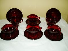 vintage red ruby glass cups and saucers anchor hocking/fire king set of 6