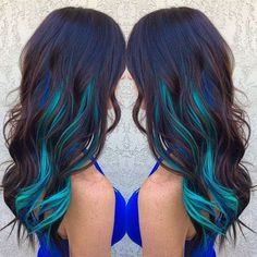 Brown hair with blue and turquoise streaks ombre hair hair c Hair Color Streaks, Hair Color Blue, Blonde Streaks, Purple Streaks, Hair With Color, Peacock Hair Color, Blonde Hair, Human Hair Clip Ins, Green Hair