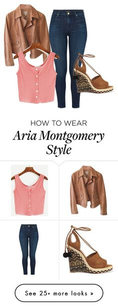 """""""Aria Montgomery outfit in 6.05."""" by bookvvorm on Polyvore featuring Armani Collezioni, J Brand, WithChic and Aquazzura #flatlay #flatlays #flatlayapp www.theflatlay.com"""