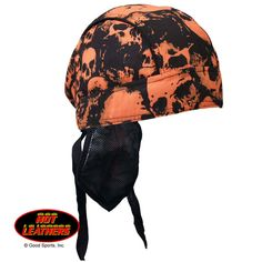 Black Orange Flame USA Skull Premium Headwrap Sweatband Durag Biker Mesh Lined
