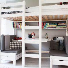 bed and desk combo teens |  loft bedroom ideas, teenage bedroom