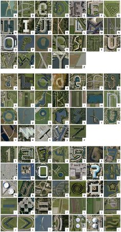 A Google Earth alphabet using only locations in The Netherlands, including capitals, lower case and numbers and punctuation. By Thomas de Bruin.