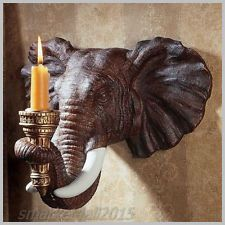 2 Wall Mounted Candle Holder Sculptural Sconce Resin Animal Ornament Statue Deco