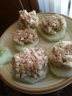 Tuna on cucumbers. A great healthy snack. 1 can of tuna in water, 1 boiled egg. 1tsp of olive oil. 1teaspoon of mayo. Salt (sea salt) and pepper Visit my site http://iherbcouponowi469.tumblr.com