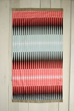 Area Rug Light Blue Red Black Rug Printed Geometric Bamboo Stripe Cotton Canvas Area Fabric Rug Retro Decor Idea Mod Rug