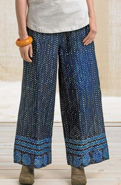 Sangli Pants - Lapis/Multi  Tie front, back elastic, wide-leg cropped length. Pockets.