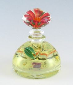 Artist: Alexandra & Chris Pantos, Title: Red Flower Topper , Yellow Domed Bottle