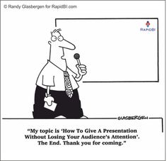 How to give a presentation without losing the audience's attention. #businesscartoons