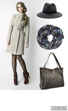 #осень #зима #пальто #шляпа #серый
