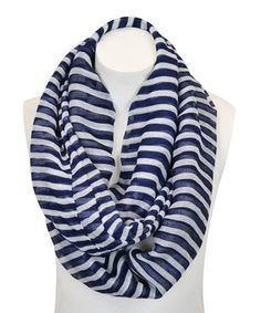 Leto Collection Navy Blue & White Stripe Infinity Scarf by Leto Collection #zulily #zulilyfinds