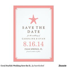 Coral Starfish Wedding Save the Date 5x7 Paper Invitation Card