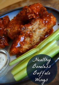 I love buffalo wings but they are normally loaded with calories. Not these wings! They aren't even fried, but they perfectly satisfy my bonesless buffalo wing craving!