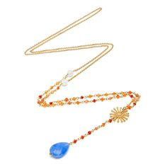 ANNIE HAAK designed this colourful drop necklace with its unique 'Sunrise' charm. Made from Blue Chalcedony Stone and a golden chain. Necklace Sizes, Drop Necklace, Gold Necklace, Chalcedony Stone, Heart Of Gold, Heart Charm, Deodorant, Annie, Beaches