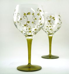 Hand painted glasses  Set of 2 blown by CreationsdeFlorence, $57.00