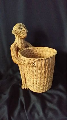 Vintage Wicker Rattan Monkey Folk Art Animal Basket Rare Collectible Excellent FREE SHIPPING on Etsy, $99.99