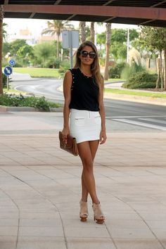 black top sunglasses white skirt purse casual street summer outfits womens fashion clothes style apparel clothing closet ideas