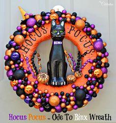 Big, bold & dimensional, this Hocus Pocus - Ode to Binx Wreath celebrates Halloween, a favorite movie & Binx! At littlemisscelebration.com