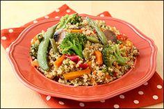 Five ingredient recipe - Veggie-Quinoa Stir-Fry. Made with frozen stir fry veggies and teriyaki marinade