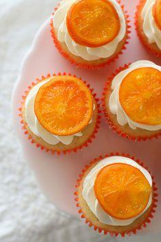 Orange Topped Vanilla Bean Cupcakes