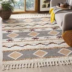 Aten Hand-Knotted Wool/Cotton Ivory Area Rug Rug Size: Rectangle x Home Design, Design Design, Design Ideas, Rug Size Guide, Orange Area Rug, Blue Area, Area Rug Sizes, Fashion Room, Online Home Decor Stores