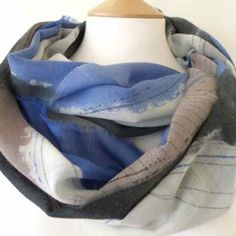 Dionne Swift : Blue Landscape Scarf (a) Hand painted fine wool 195 x 45cm http://www.dionneswift.co.uk