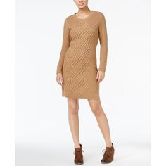 Tommy Hilfiger Adela Cable-Knit Sweater Dress ($47) ❤ liked on Polyvore featuring dresses, warm khaki heather, tommy hilfiger dresses, tommy hilfiger, cable knit dress, cable dress and cable sweater dress