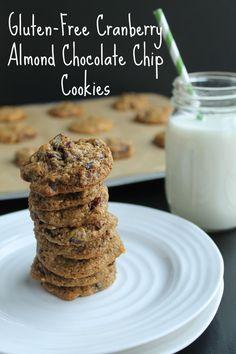 Gluten-Free Cranberry Almond Chocolate Chip Cookies #gluten-free  #dairy-free