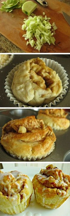 Apple Walnut Cinnamon Roll Cupcakes