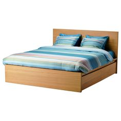 MALM Bed frame, high, w 4 storage boxes - Luröy, Standard 4ft6 Double - IKEA