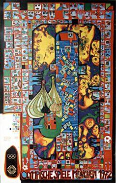 Reproduction de Hundertwasser, Jeux Olympiques De Munich 1972. Tableau peint à la main dans nos ateliers. Peinture à l'huile sur toile.