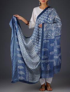 Buy Indigo-White Cotton Silk Leaf Block Printed Dupatta Online at Jaypore.com