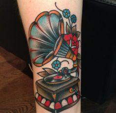 oldschool recordplayer tattoo #oldschool #recordplayer #tattoo