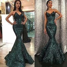 Sparkly V Neck Green Sequin Custom Long Evening Prom Dresses, Sexy Sleeveless Prom Dresses G412