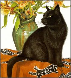 Black cat and flowers by Chrissie Snelling