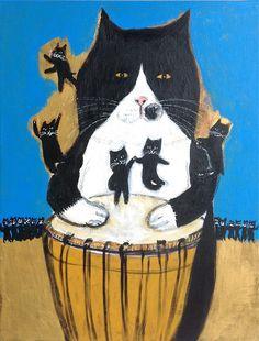 chat' by pepe shimada Crazy Cat Lady, Crazy Cats, Big Cats, Illustrations, Illustration Art, Chat Web, Black Cat Art, Black Cats, Lots Of Cats
