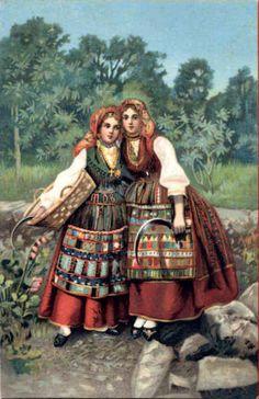 Trajes típicos em postal alemão de cerca de 1910.