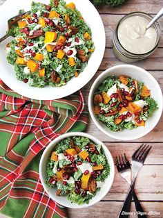 Holiday Kale Salad with Maple-Mustard Dressing