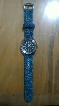Stingray leather strap on Seiko Watch