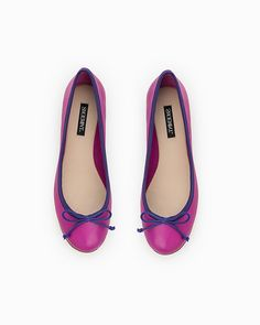 Pink and purple ballet flats.
