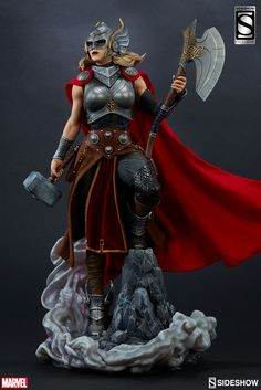 Marvel Thor Jane Foster Premium Format(TM) Figure by Sidesho Marvel Dc, Marvel Comics, Jane Foster, Thor Costume, Marvel Statues, Female Thor, The Mighty Thor, Poses References, Custom Action Figures