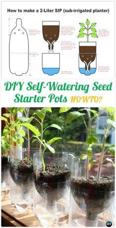 DIY Self-Watering Seed Starter Pots Instructions - DIY Plastic Bottle #Gardening; Projects & Ideas