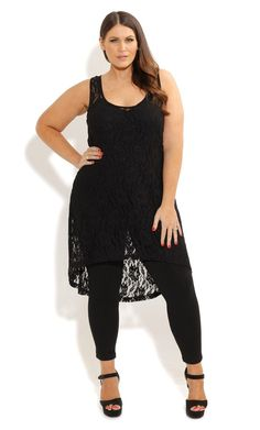 Plus Size Sexy Black Lace Tunic - City Chic - City Chic